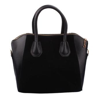 New Women PU Leather Frosted Handbag Shoulder Bags Tote Purse Bag Black
