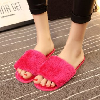 Women Home Indoor Open Toe Soft Shoes Mule Slipper Fur Winter Warm Flats Plush Rose - intl