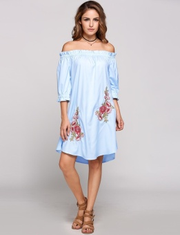 Cyber Off The Shoulder Puff Sleeve Embroidery Shift Dress ( Sky Blue ) - intl