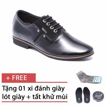 Giày da nam công sở lịch lãm SMARTMEN GD2-01 (Đen) - Tặng kèm một hộp xi, 1 đôi lót giày và 1 đôi tất khử mùi cao cấp