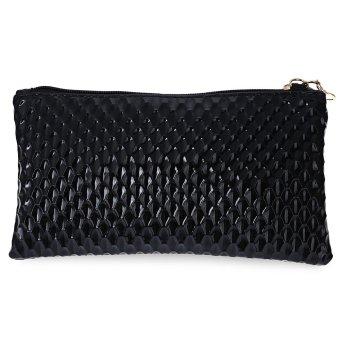 Women PU Plaid Zipper Handbag Shoulder Bag (Black) - intl