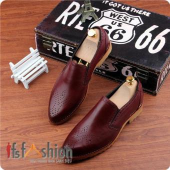 Giày Lười Nam Hàn Quốc Màu Nâu Đỏ Có Hoạ Tiết Mũi Giày Mã Sản Phẩm HQ107