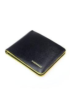 HKS Men Leather Bifold Credit/ID Cards Holder Slim Wallet Yellow/Black - intl
