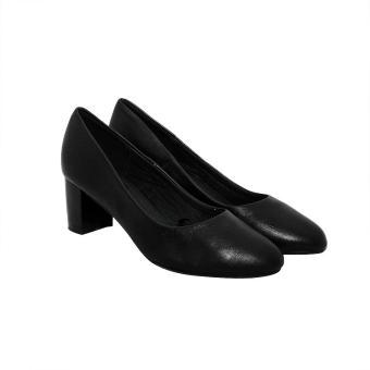 Giày nữ cao gót 5cm da bò thật cao cấp màu đen ESW93