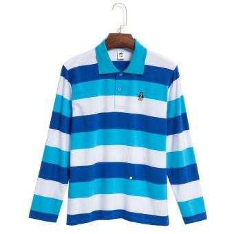 Color Block Long Sleeve Turn Down Collar Stripe Boys T-Shirt (Blue) - Intl - intl