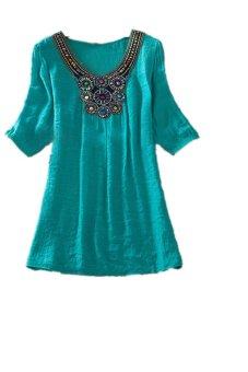 Lalang Embroidery Short Sleeve T-Shirt Green - Intl