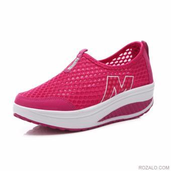 Giày lưới thể thao nữ đế cao Sportmax SWG53308HD - Màu hồng đỏ