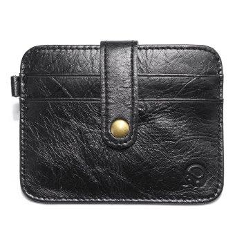 Men Mini PU Leather Wallet Slim ID Credit Card Holder Purse Money Clip Pockets Black - intl