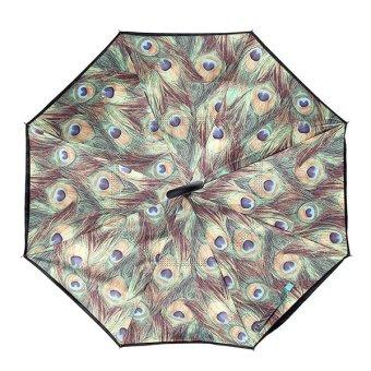 KCASA UB-2 Reverse Umbrella Flowers Creative Double Layers Self-standing Upside Down Car Rain Gear - intl