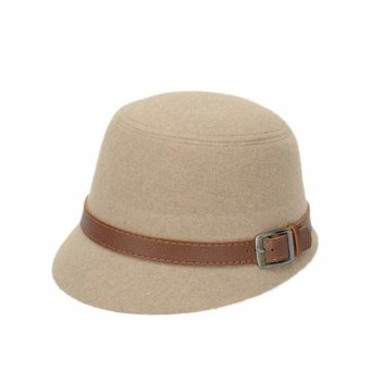 Women Beach Belt Buckle Felt Bowler Fedora Hat Beige