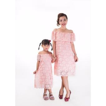 Set đầm ren mẹ & bé cao cấp JasminRose màu hồng