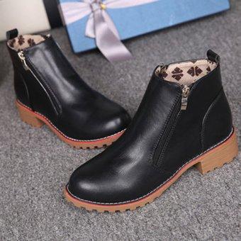 Giày bốt nữ đế vuông 3 cm cổ lửng GBN25 (Đen)