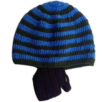 Baby Child Fashion Winter Warm Soft Knitting Wool Stripe Unisex Detachable Beard Hat Cap Color E - intl
