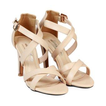 Giày Sandal Nữ Gót Nhọn Bít Hậu Quai Chéo HC1355 (Kem).