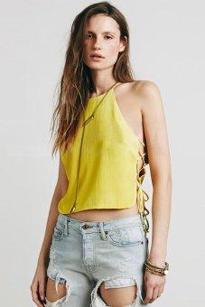 Cyber Straps Halter Tank top Women Sleeveless Shirt Chiffon Pleats Tops Blouse ( Yellow ) - intl