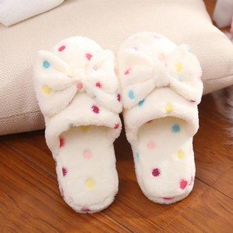 Moonar Women Bowknot Slippers Bedroom House Shoes Slippers (white 36-37) - intl