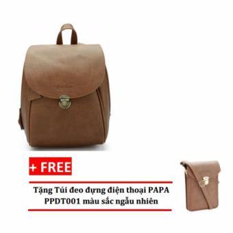Balo thời trang nữ PAPA PPB002 (Bò nhạt) + Tặng túi đeo đựng điện thoại PAPA PPDT001