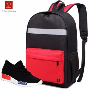 Combo Balo laptop BLL003RE + Giày Sneaker GS064BA (Đen) - CB030