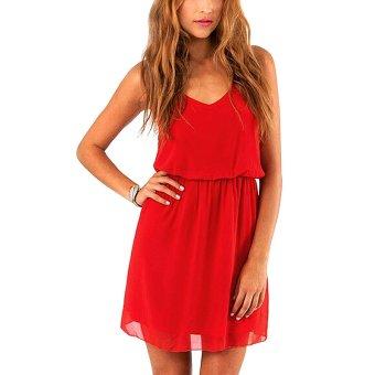 YOINS Summer Chiffon Dress 2016 New Women Sexy Off Shoulder Red Spaghetti Strap Pleated Dress Elegant Party Night Wear Vestidos - intl