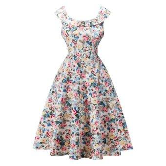 Female Flower Print U Neck Pin up Audrey Vintage Dress(Yellow) - intl
