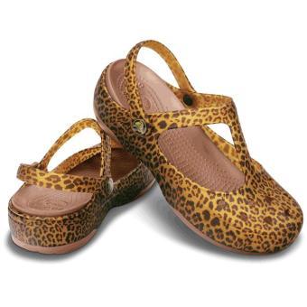 Giày búp bê nữ Crocs Carlie Animal Wave MJ Espresso/Bronze 15091-25M (Vàng)