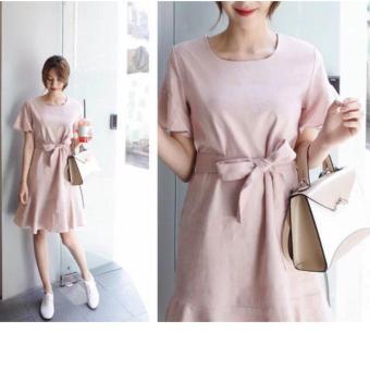 Đầm Nữ - Đầm Xòe Đuôi Cá Thắt Nơ Eo Xinh Xắn (màu hồng)