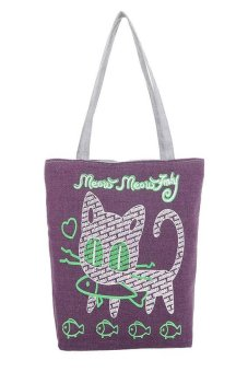 HKS Women Cute Cartoon Cat Canvas Bags Shoulder Bag Casual Handbag Purple - intl