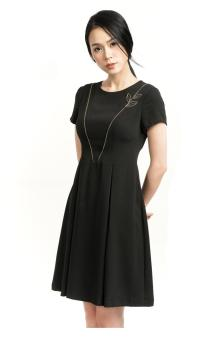 Đầm tuytsi xòe khóa đồng li màu đen Bella Moda