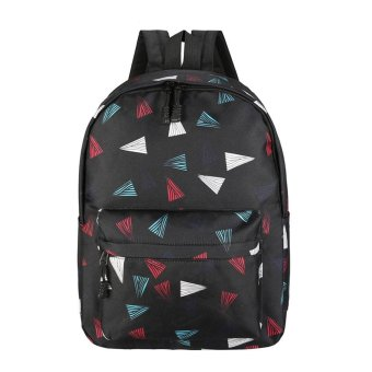 Women Recreation Travel Canvas Triangular Geometry Satchel School Bag Backpack Black - intl