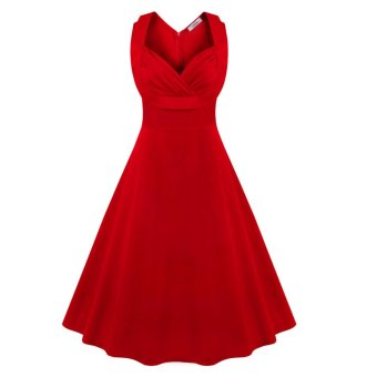 Retro Dress Sleeveless Big Hem V-neck (Red) - intl