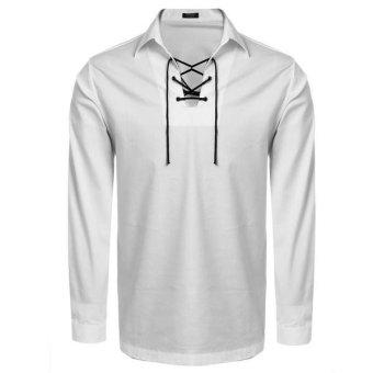 Linemart Men Long Sleeve Turn Down Collar Front Lace-up Casual Shirt ( Khaki ) - intl
