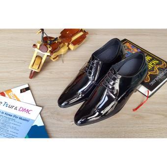giày tăng chiều cao nam S955 đen bóng, cao 6CM