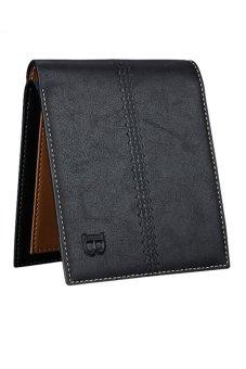 Bluelans Men's Faux Leather Bifold Card Holder Wallet Handbag Black Horizontal (Intl)
