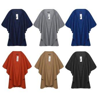 Sunweb Women's Wool Shawl Poncho Wrap Scarves Coat (Grey) - intl