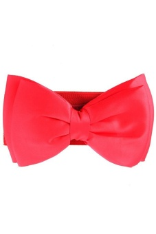 LALANG Bowknot Elastic Wide Waistband Belt (Red)