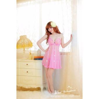Đầm ngủ quyến rũ 2 dây hoa rơi Chodeal24h (hồng)