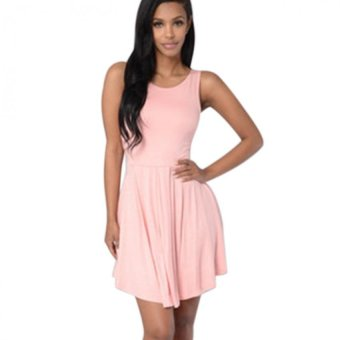 Gamiss Woman Casual Dress Round Neck Backless (Pink) - Intl