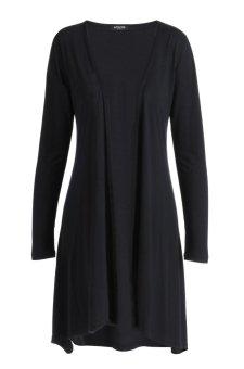Sunweb ACEVOG Lady Women Casual Open Neck Long Sleeve Asymmetric Hem Loose Cardigan Coat ( Dark gray ) - intl