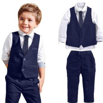 Baby Boys Gentleman Wedding Suits Shirts+Waistcoat+Long Pants+Tie Clothes 1Set - intl