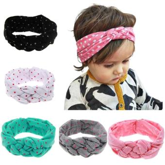 5Pcs Baby Infant Kids Girls Hairband Wave Point Woven Cross Hair Band Headwrap Decoration Accessories for Shower Birthday Party Family Photo - intl