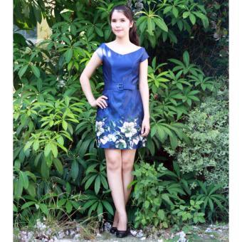 Đầm chữ A xanh họa tiết hoa Cocoxi 18DT20