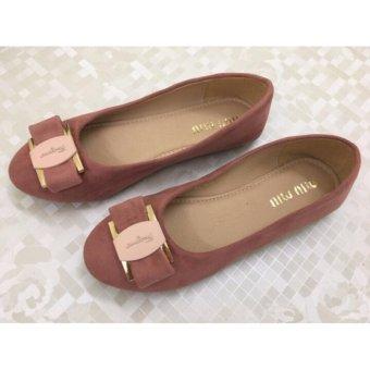 Giày búp bê nữ VNXK đính nơ - màu hồng