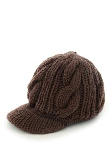 Women Girls Hats Knit Winter Hat Newsboy Snow Hat Peaked Cap Warm Crochet Hat Coffee