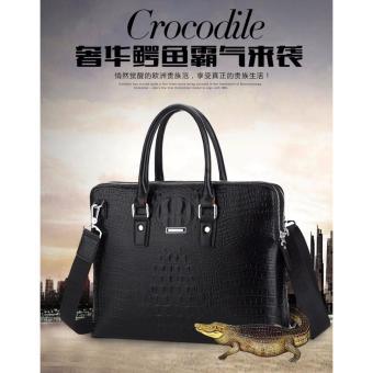 Túi xách công sở đựng laptop da thật vân cá sấu ( màu đen )