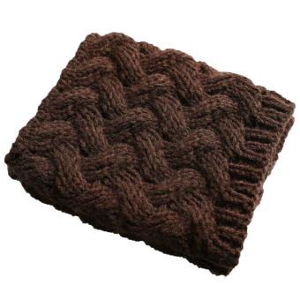 1 Pair of Women Short Thicken Crochet Knit Leg Warmer Winter Leg Warmers Socks Boot Cuffs Socks Toppers Dark Coffee - intl