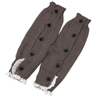 1 Pair of Kids Girls Long Crochet Knit Lace Leg Warmer Winter Leg Warmers Socks Boot Cuffs Socks Toppers Light Grey - intl