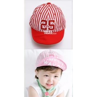 Nón (mũ) lưỡi trai 25 cho bé trai và bé gái mầu kẻ đỏ (M18)