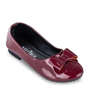 Giày búp bê phối nơ Sarisiu SRS815 (Đỏ)