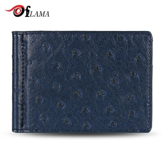 FLAMA Stylish PU Leather Press Print Cash Clip Small Card Wallet For Men(Blue) - intl