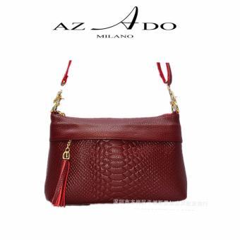 Túi Xách da bò thật TV137, thời trang Azado ( đỏ)